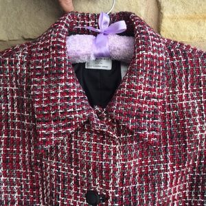 Emma James Liz Clairbourne Plaid Tweed Crop Jacket